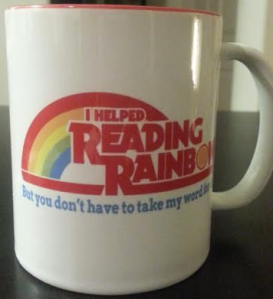 Reading Rainbow Kickstarter backer mug